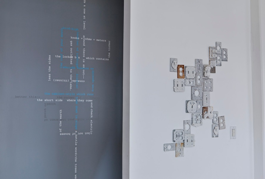"Cleavemark Dr., text installation (""Upwards"") + pickling salt-encrusted switch plate installation. Stephanie Ellis Schlaifer & Cheryl Wassenaar, Fort Gondo Compound for the Arts, fall 2014"